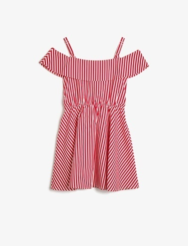 Koton Kids Çizgili Elbise Kırmızı